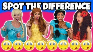 FIND THE DIFFERENCE CHALLENGE. SPOT THE DIFFERENT EMOJI. (ELSA, JASMINE, MOANA AND BELLE DRESS UP)