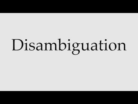 How to Pronounce Disambiguation