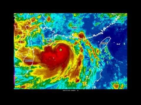 Typhoon Rammasun approaching the island of Hainan on 07/17/14