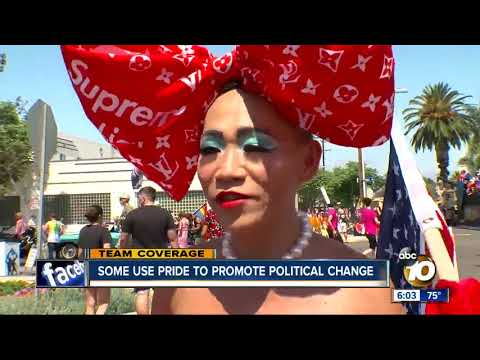San Diego Pride Parade  making a political statement
