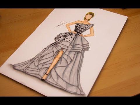 تعليم رسم وتصميم فستان سهرة مميز خطوة بخطوة How To Draw A Dress