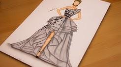 7da559328 تعليم رسم وتصميم فستان سهرة مميز خطوة بخطوة - How to draw a dress -  Duration: 35:16.