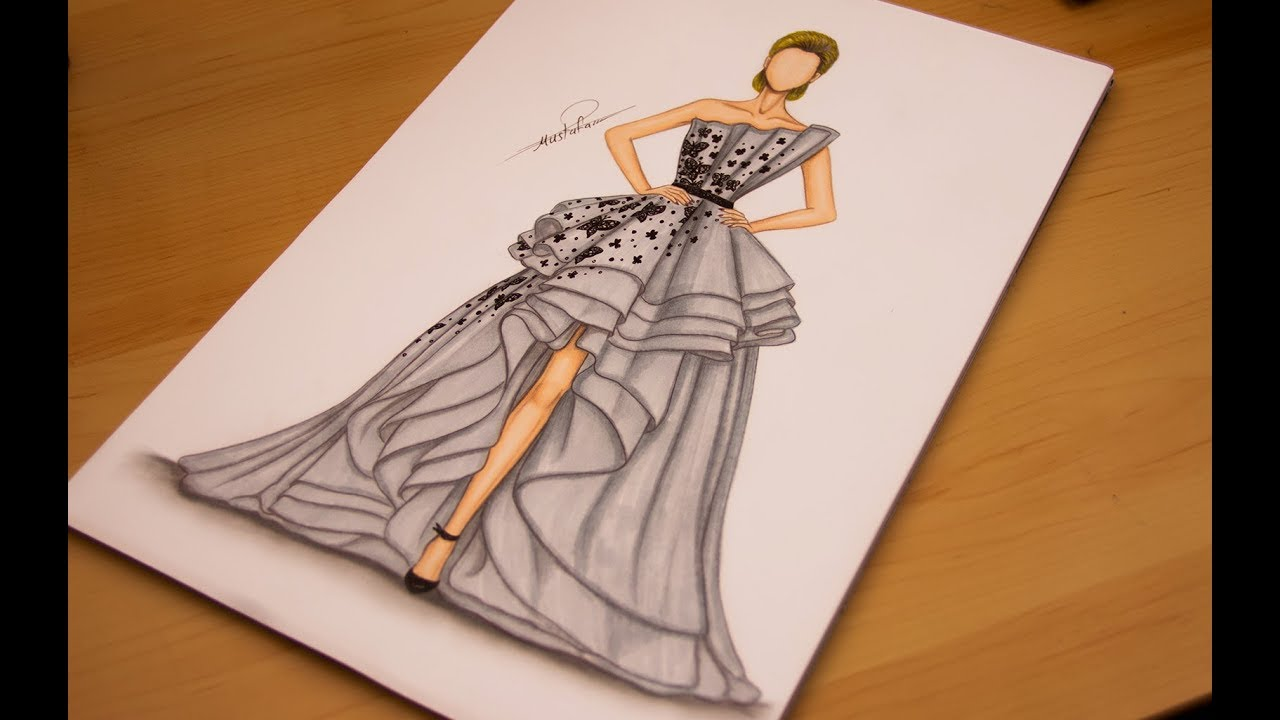 0b0ad5454 How to draw a dress - Learn to Draw and Design a Special Evening Dress Step  by Step