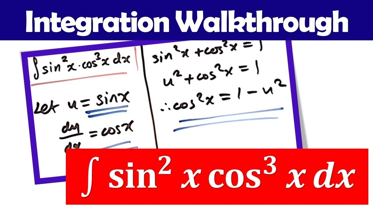 Integrate sin^2(x) cos^3(x) by U-Substitution - YouTube