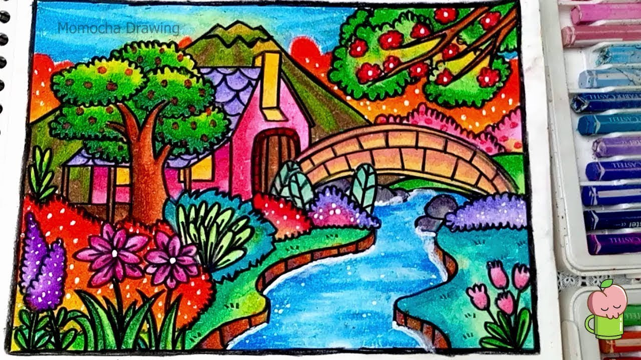 How To Draw Scenery Of House Garden And River Step By Step EASY
