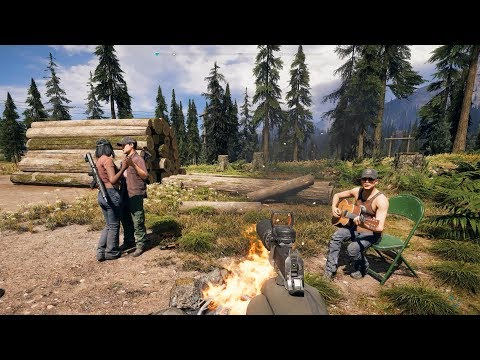 Far Cry 5 - Npc playing guitar and singing at campfire