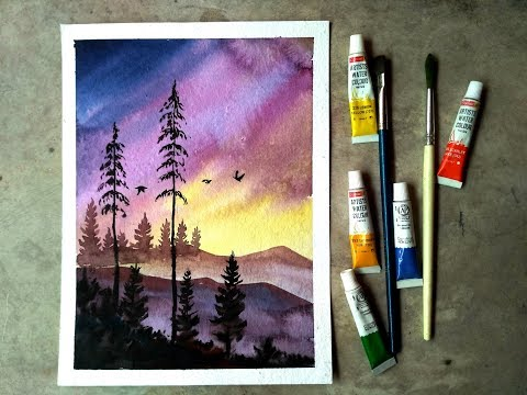 Watercolor painting | Watercolor tutorial of simple Mountain and Tree Landscape