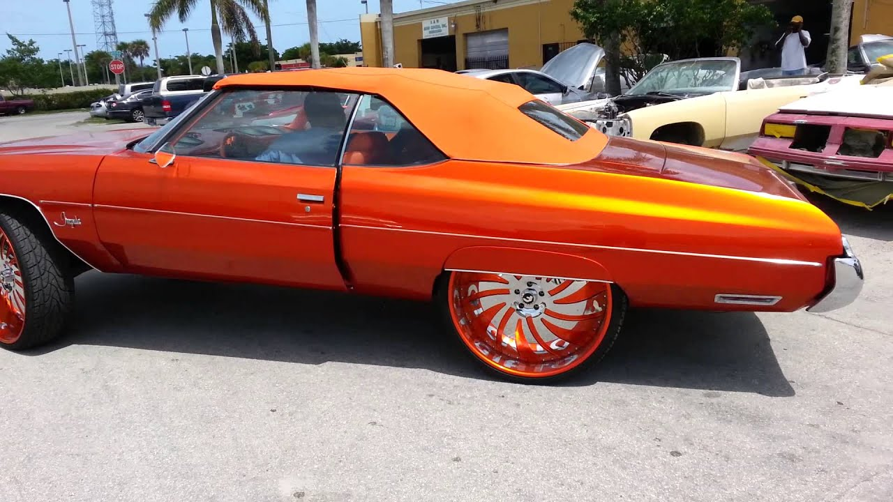 orange convertible 1973 chevy impala sprayed at sudamar 39 s new finish paint body shop youtube. Black Bedroom Furniture Sets. Home Design Ideas