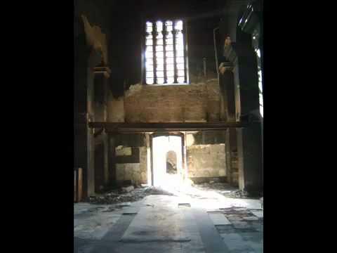 Kosovo , Mitrovica  UNMIK & KFOR watch desecration of church