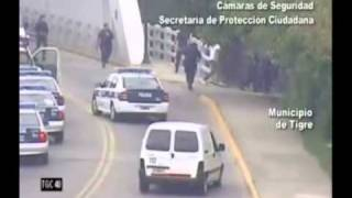 police car chase and crash caught on tape by security cameras