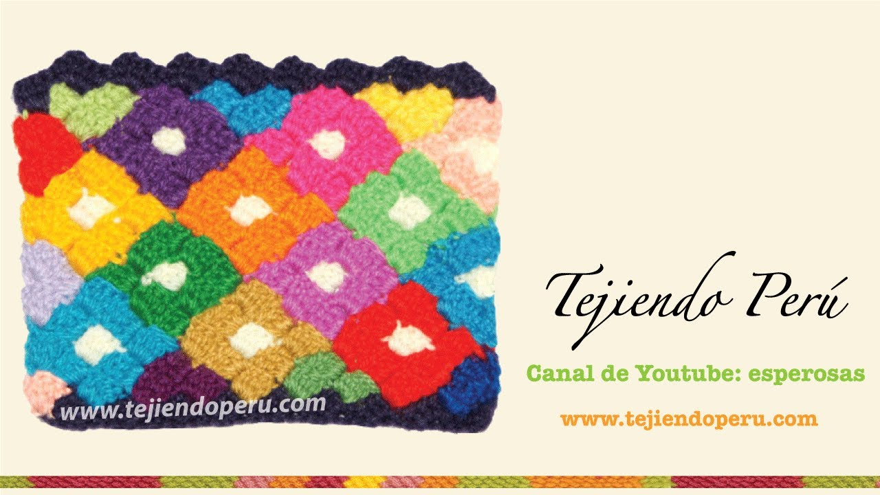 Punto rombos de colores tejido en crochet - YouTube