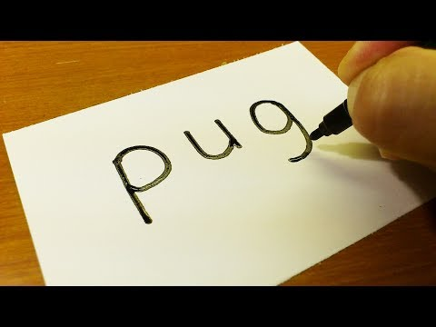 Very Easy ! How to turn words PUG(dog) into a Cartoon for kids -  Drawing doodle art on paper
