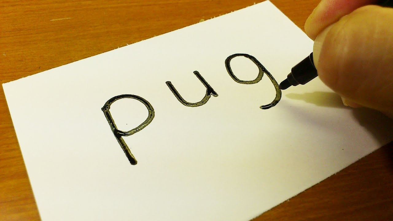 Very Easy How To Turn Words Pug Dog Into A Cartoon Drawing