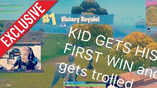 NINJA pretends to be a noob and helps kid get first win