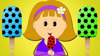 NOVO! APRENDA AS CORES COM PICOLÉS E BOLAS DE FUTEBOL - Vídeos Educativos - Campo das Crianças
