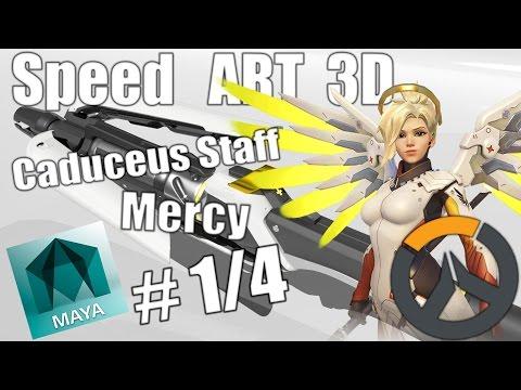 Maya 3D Speed ART 3D | Caduceus Staff Mercy (Overwatch) [parte 1/4]
