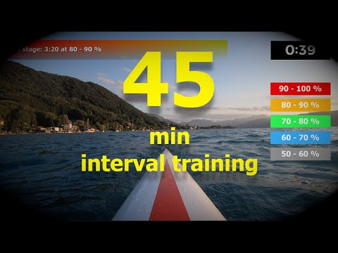 (03/05) 45/25 minute indoor rowing workout - interval training HIIT - hard (updated)