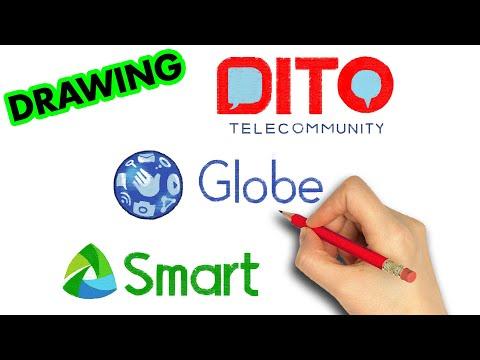 how to draw DITO Telecommunity Smart Globe Telecoms Logo | Art Therapy