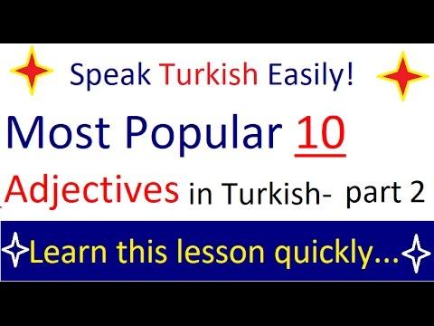 TURKISH LESSONS- MOST COMMON ADJECTIVES in Turkish- Türkçe En yaygın Sıfatlar-