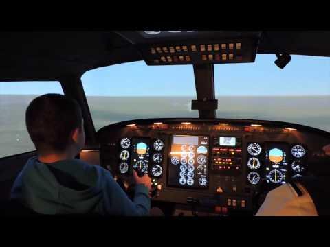 King air 200 Simulator flight (Take-off...