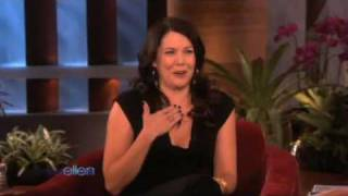 Ellen Tries to scare the always Energetic Lauren Graham