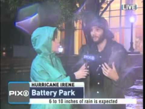 Download Youtube: WPIX: HURRICANE IRENE: Josh Safdie PRANKS LIVE News Broadcast