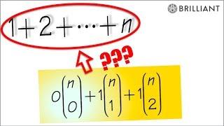 weekly brilliant Q#2, (unusual way to add 1+2+3+...+n, @4:30)