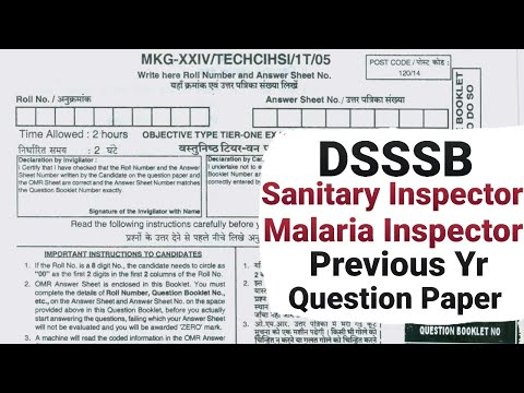 Dsssb Sanitary Inspector & Malaria Inspector Previous Year Question Paper, Health Inspector