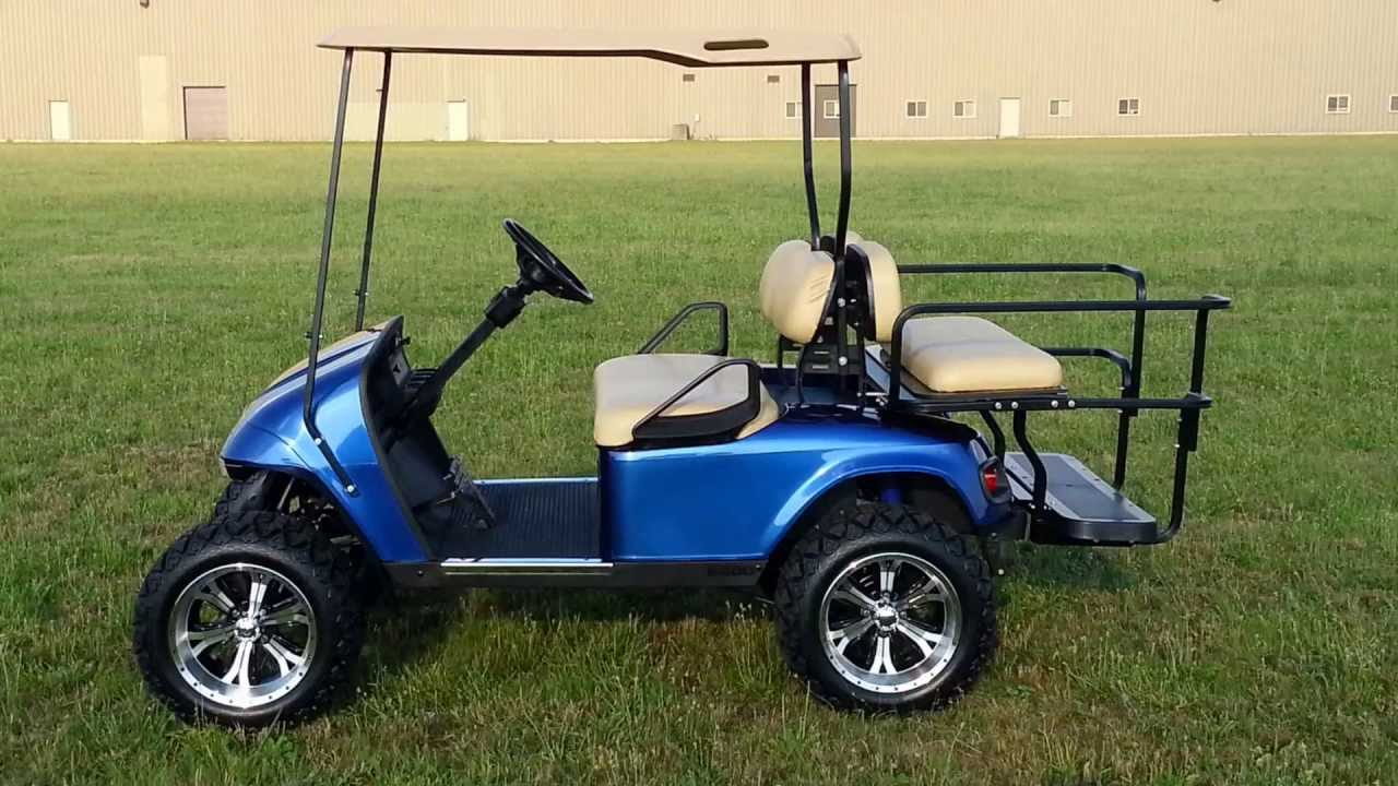 Viper Blue Metallic Custom Lifted Ezgo Golf Cart  Flip