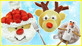 Best Christmas Breakfast Santa Claus and Reindeer Pancake Art Cute Recipes  Kids Cooking and Crafts