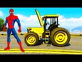 Spiderman Repairs Yellow Tractor - Cars Cartoon with Trucks for Kids and Children's Songs