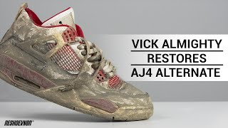 Vick Almighty RESTORES DISGUSTING Air Jordan 4 Alternate 89 w/ Reshoevn8r PART 1