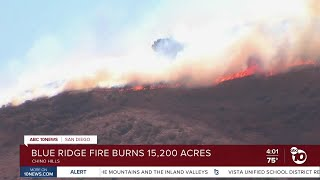 Live look at burned hills in Chino Hills from Blue Ridge Fire