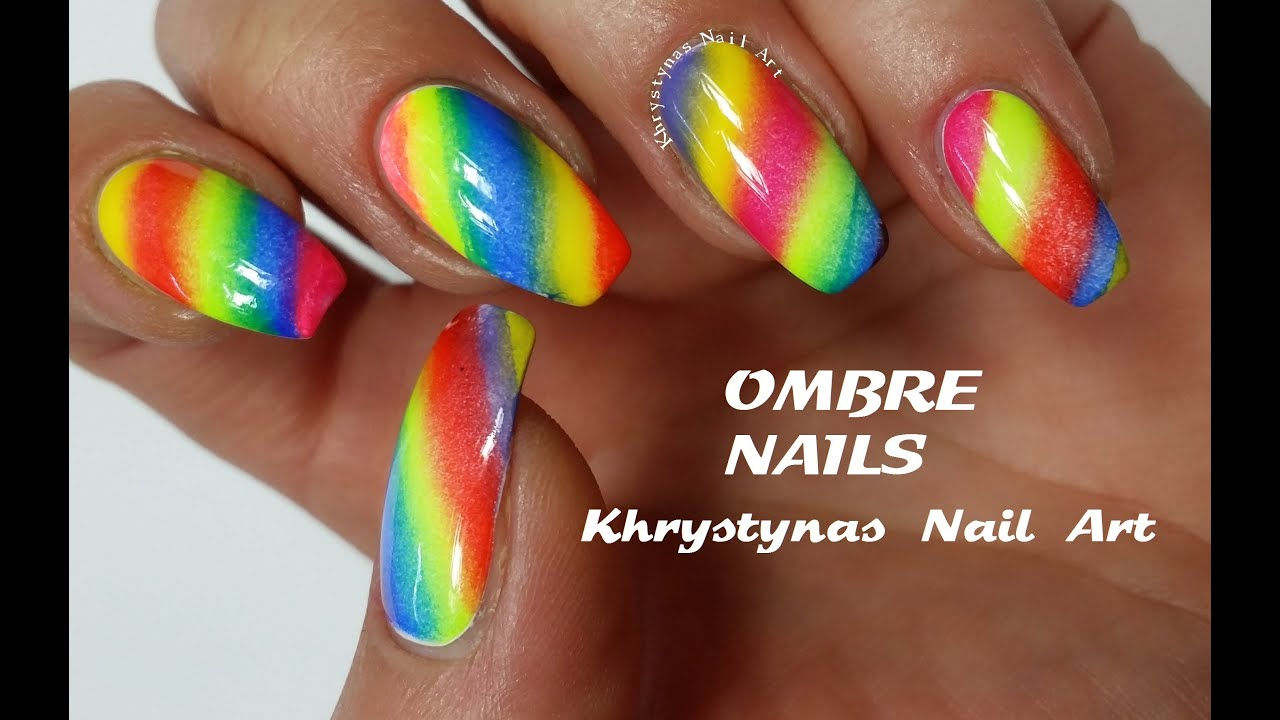 Ombre Rainbow Nails | Nail Art Tutorial (Khrystynas Nail Art) - YouTube