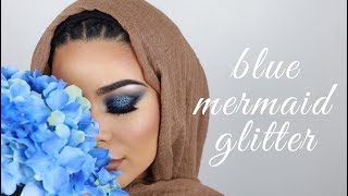 EID MAKEUP #3: Mermaid Blue Glitter | EID COLLAB | Habiba Da Silva