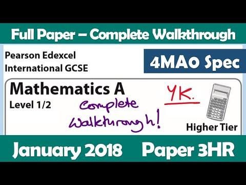 Edexcel IGCSE Maths A | January 2018 Paper 3HR | Complete Walkthrough