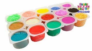 Учим цвета с Play Doh Кинетическим Песком и Шариковым Пластилином | Учим название фруктов для детей thumbnail