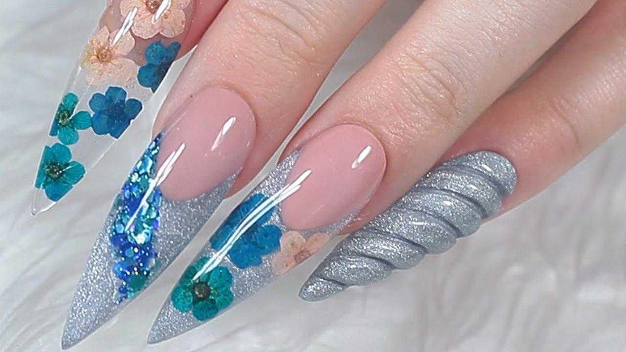 real flowers x 3d unicorn horn acrylic nails tutorial