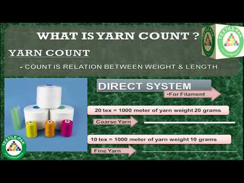 Spinning Lab Test ; What is Yarn Count, Type of Yarn Count, Yarn count method, Textile Pak.