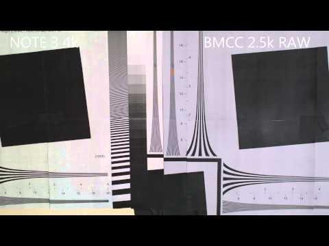 Samsung Note 3 4k vs Blackmagic Cinema Camera 2.5k RAW resolution chart comparison