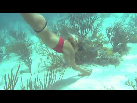 Freediving, Surfing, Swimming -All Fun at the Blushing Caribbean by Hot and Beautiful Expert Girl HD