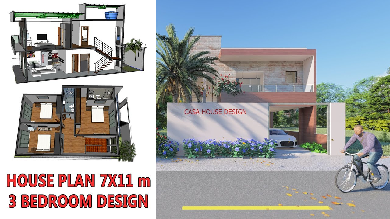 Best East Face House Plan 3 Bedroom 7x11 8x13 Casa House Design Youtube