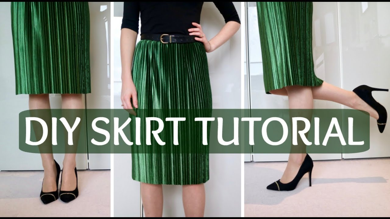 DIY: How to make an elastic waist skirt without a pattern - YouTube