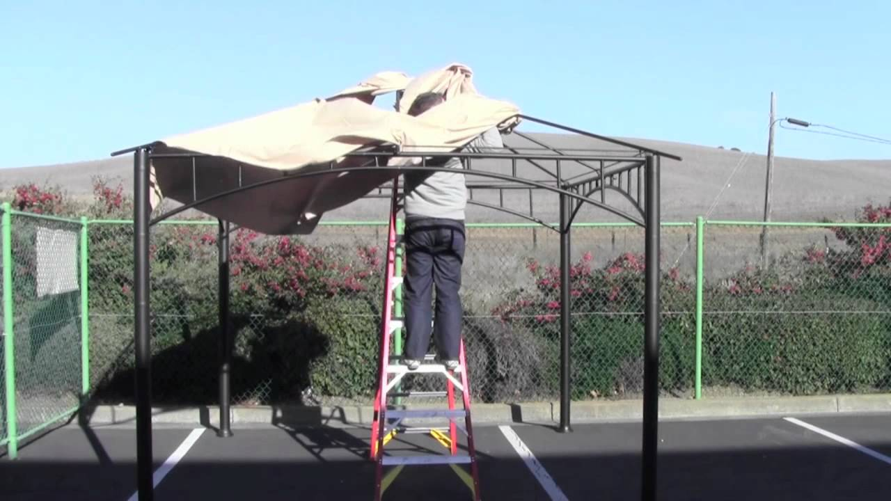 & How to install a canopy for the Target Madaga Gazebo - YouTube