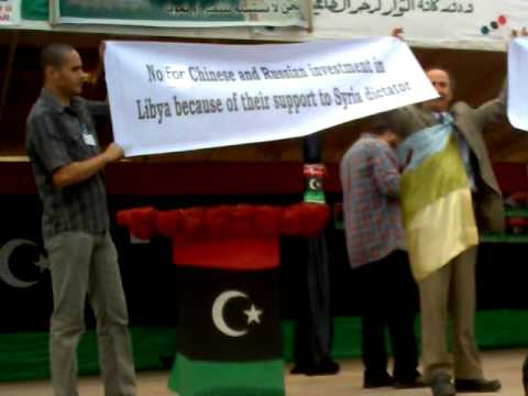 protest against chinese and russian  investment in Libya