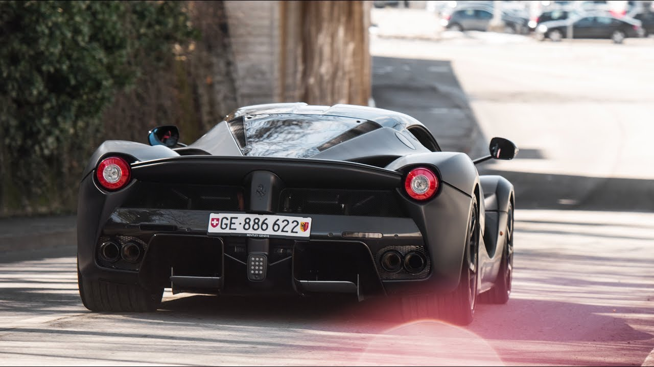 Satin Black Ferrari Laferrari in Geneva !