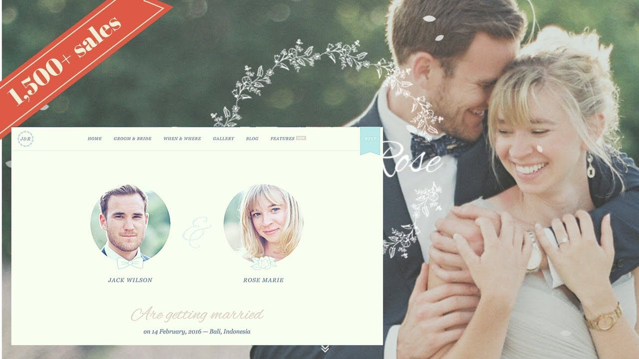 Jack & Rose A Whimsical WordPress Wedding Theme - YouTube