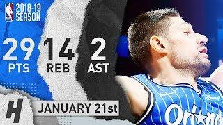 Nikola Vucevic Full Highlights Magic vs Hawks 2019.01.21 - 29 Pts, 2 Ast, 14 Rebounds!