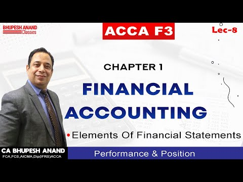 ACCA F3 Chapter 1 Financial Accounting Lec - 8 | Elements Of Financial Statements