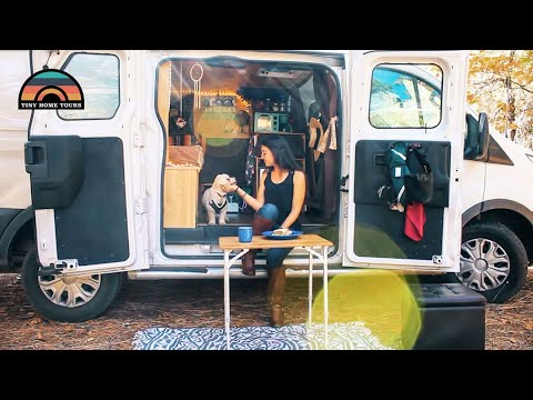 She's A World Traveler That Lives & Travels In Her Custom High Top Ford Transit Camper Van